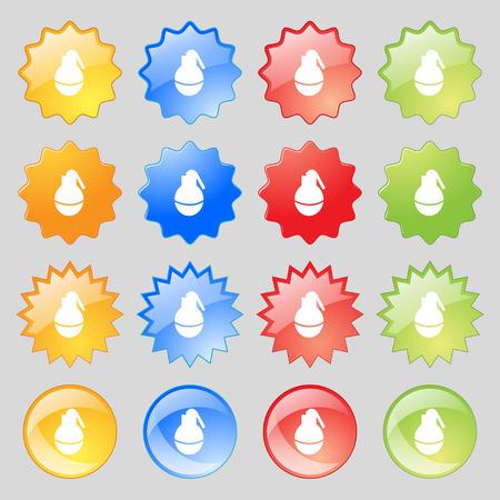 devastation: Hand Grenade icon sign. Big set of 16 colorful modern buttons for your design. Vector illustration