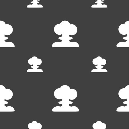 hydrogen bomb: Explosion Icon sign. Seamless pattern on a gray background. Vector illustration