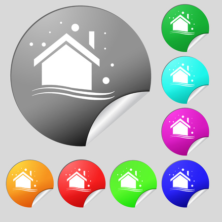 small town: Winter house icon sign. Set of eight multi colored round buttons, stickers. Vector illustration