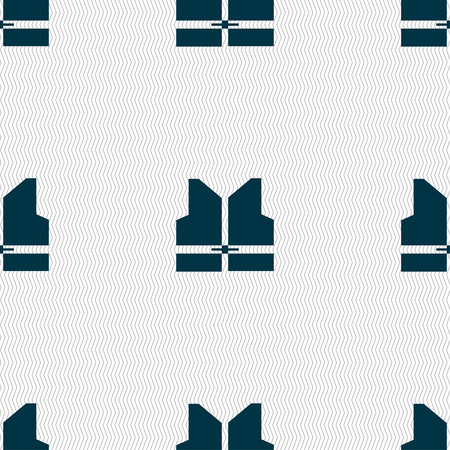 noticeable: Working vest icon sign. Seamless pattern with geometric texture. Vector illustration