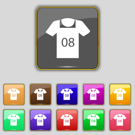 T-shirt Icon sign. Set with eleven colored buttons for your site. Vector illustration