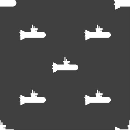 sub: submarine icon sign. Seamless pattern on a gray background. Vector illustration Illustration