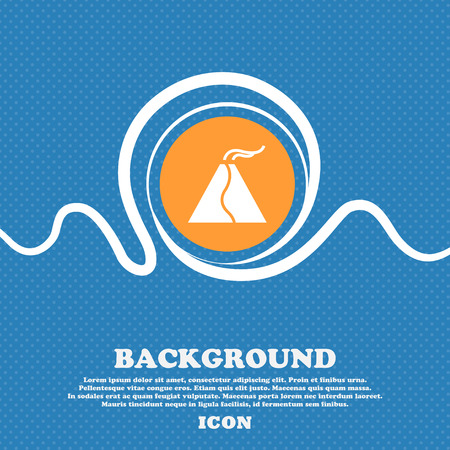 powerful volcano: active erupting volcano icon sign. Blue and white abstract background flecked with space for text and your design. Vector illustration Illustration