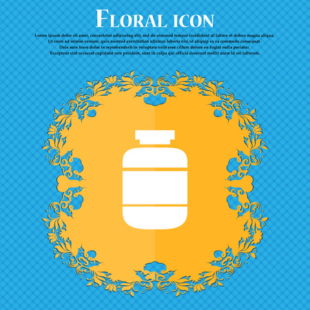 medication icon icon. Floral flat design on a blue abstract background with place for your text. Vector illustration