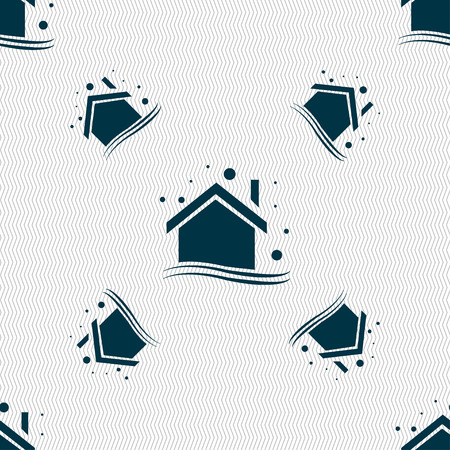 Winter house icon sign. Seamless pattern with geometric texture. Vector illustration