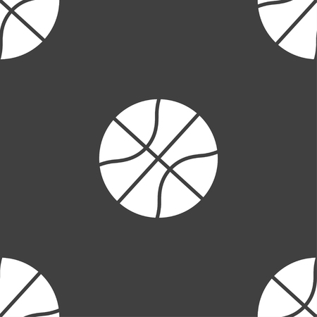 bal: Basketball icon sign. Seamless pattern on a gray background. Vector illustration Illustration
