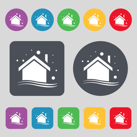 winter  house: Winter house icon sign. A set of 12 colored buttons. Flat design. Vector illustration