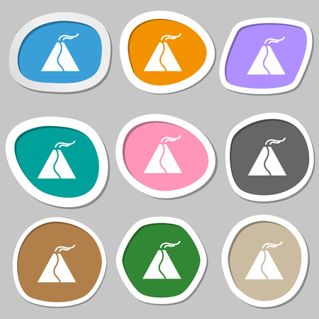 erupting: active erupting volcano icon symbols. Multicolored paper stickers. Vector illustration