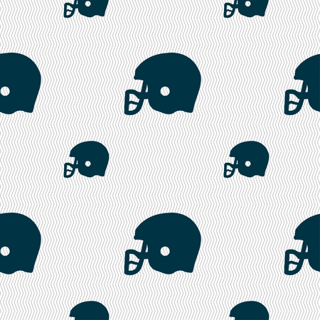 american football helmet: american football helmet icon sign. Seamless pattern with geometric texture. Vector illustration Illustration