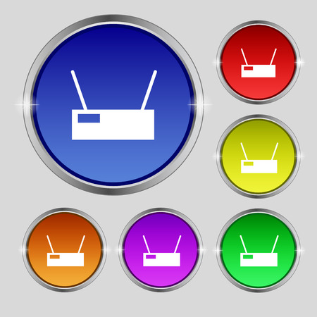 Wi-Fi Icon sign. Round symbol on bright colourful buttons. Vector illustration