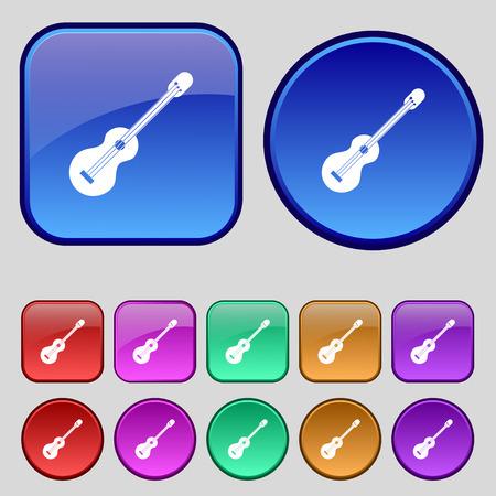strumming: acoustic guitar icon sign. A set of twelve vintage buttons for your design. Vector illustration