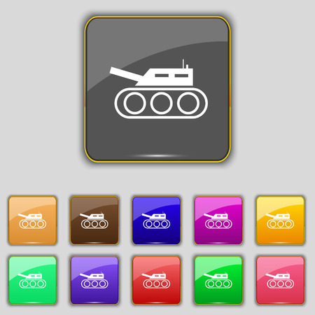 cold war: Tank, war, army icon sign. Set with eleven colored buttons for your site. Vector illustration Illustration
