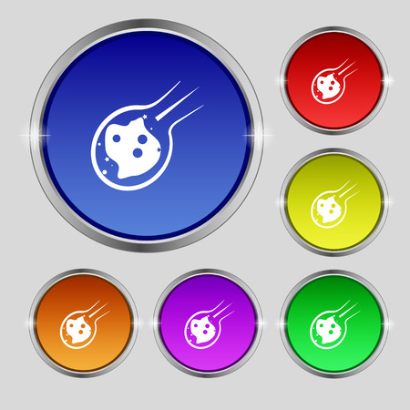 devastation: Flame meteorite icon sign. Round symbol on bright colourful buttons. Vector illustration Illustration