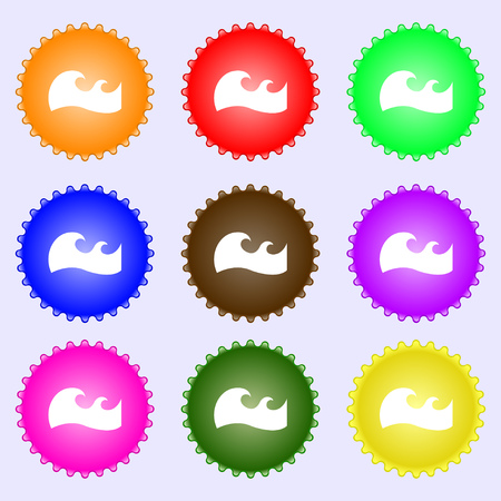big waves: Waves icon sign. Big set of colorful, diverse, high-quality buttons. Vector illustration