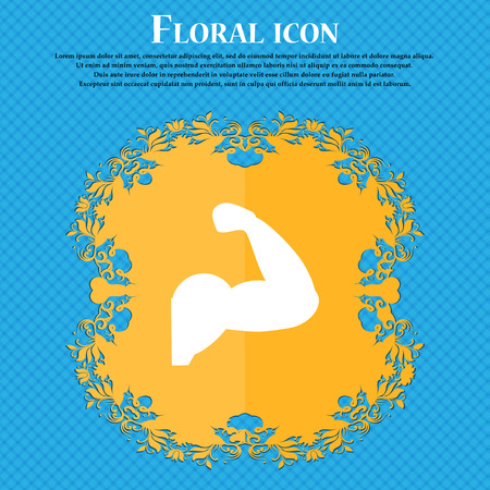 in flexed: Biceps strong arm. Muscle icon icon. Floral flat design on a blue abstract background with place for your text. Vector illustration Illustration