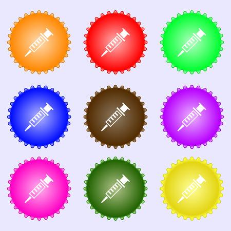 Syringe icon sign. Big set of colorful, diverse, high-quality buttons. Vector illustration Illustration