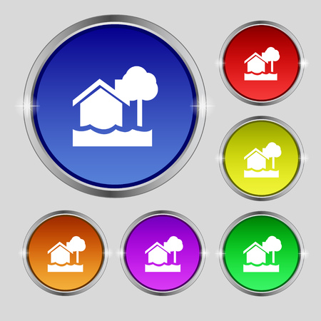 sea disaster: flooding home icon sign. Round symbol on bright colourful buttons. Vector illustration Illustration