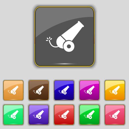 Cannon icon sign. Set with eleven colored buttons for your site. Vector illustration