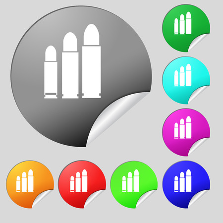 m16 ammo: bullet Icon sign. Set of eight multi colored round buttons, stickers. Vector illustration