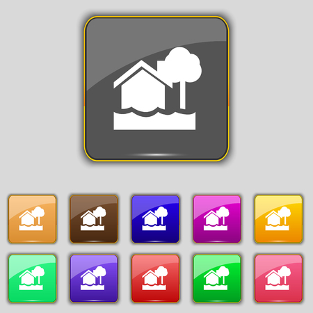 flooding: flooding home icon sign. Set with eleven colored buttons for your site. Vector illustration