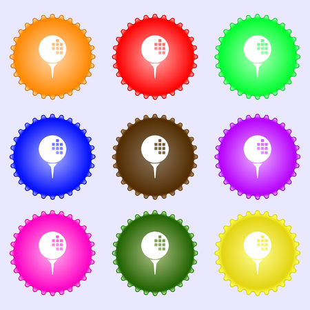 Golf icon sign. Big set of colorful, diverse, high-quality buttons. Vector illustration