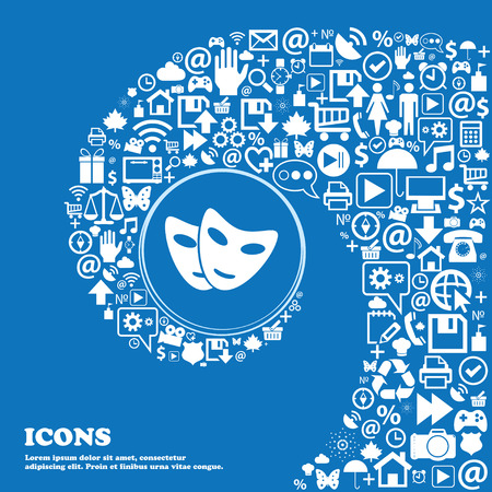 moods: mask icon . Nice set of beautiful icons twisted spiral into the center of one large icon. Vector illustration