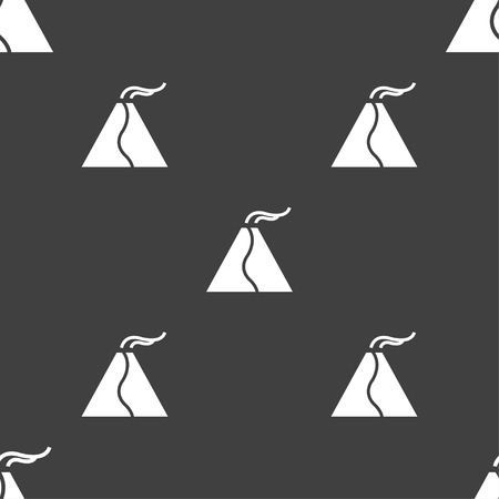 erupt: active erupting volcano icon sign. Seamless pattern on a gray background. Vector illustration