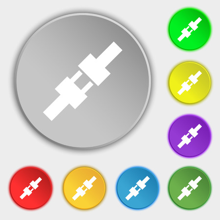 safety harness: seat belt icon sign. Symbol on eight flat buttons. Vector illustration