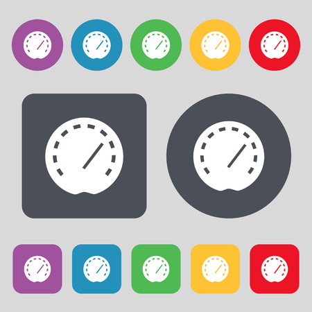 speedmeter: speedometer Icon sign. A set of 12 colored buttons. Flat design. Vector illustration Illustration