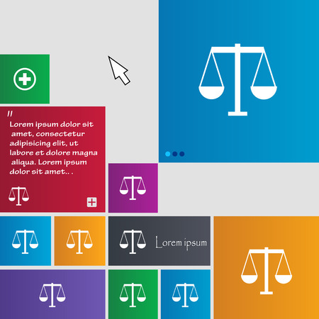 righteousness: Scales of Justice icon sign. buttons. Modern interface website buttons with cursor pointer. Vector illustration