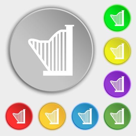 symphonic: Harp icon sign. Symbol on eight flat buttons. Vector illustration Illustration