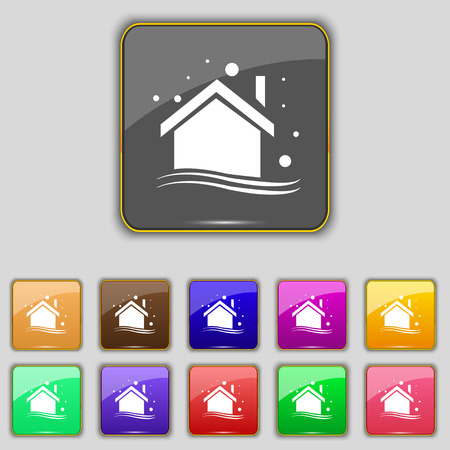 abode: Winter house icon sign. Set with eleven colored buttons for your site. Vector illustration