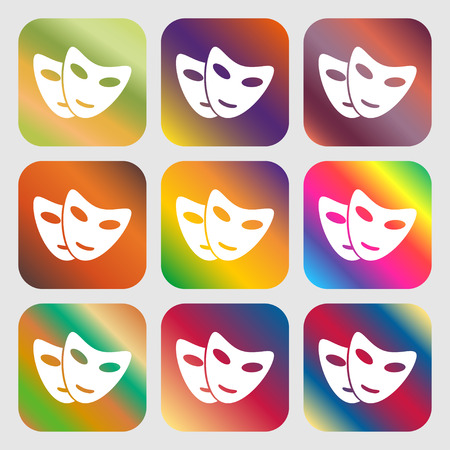 moods: mask icon . Nine buttons with bright gradients for beautiful design. Vector illustration
