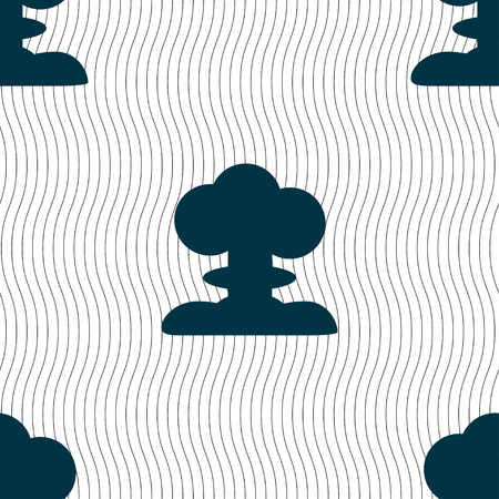 toxic accident: Explosion Icon sign. Seamless pattern with geometric texture. Vector illustration Illustration