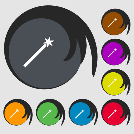 Magic Wand Icon sign. Symbols on eight colored buttons. Vector illustration