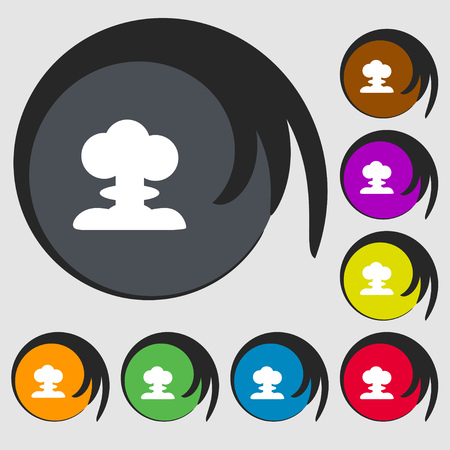 hydrogen bomb: Explosion Icon sign. Symbols on eight colored buttons. Vector illustration