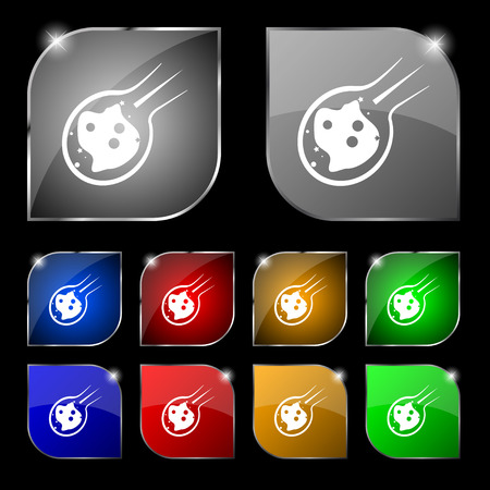 Flammen-Meteorit-Symbol-Zeichen. Satz von zehn bunte Tasten mit Blendung. Vektor-Illustration Zeichen. Satz von zehn bunte Tasten mit Blendung. Vektor-Illustration