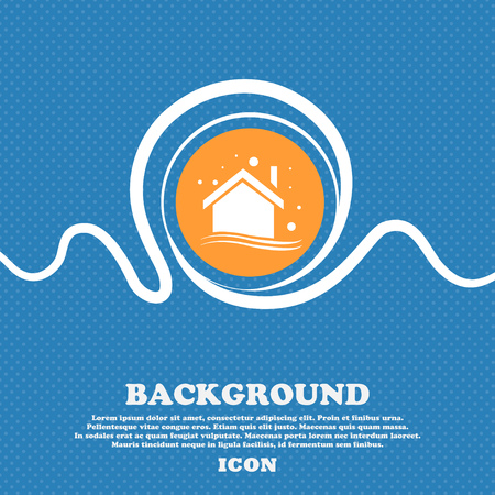 Winter house icon sign. Blue and white abstract background flecked with space for text and your design. Vector illustration