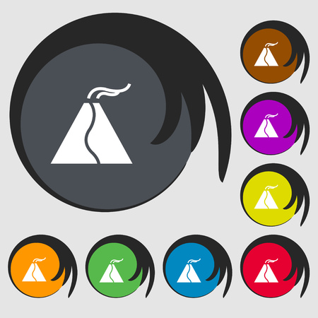 ash cloud: active erupting volcano icon sign. Symbols on eight colored buttons. Vector illustration