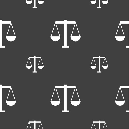Scales of Justice icon sign. Seamless pattern on a gray background. Vector illustration Illusztráció