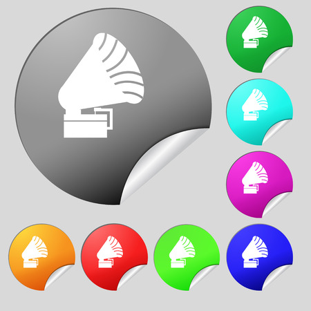 restored: Gramophone icon. sign. Set of eight multi colored round buttons, stickers. Vector illustration Illustration