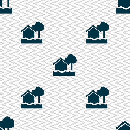 flooding: flooding home icon sign. Seamless pattern with geometric texture. Vector illustration Illustration