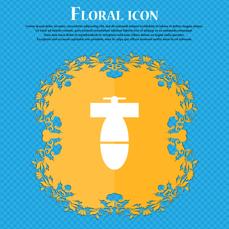 mortar mine icon icon. Floral flat design on a blue abstract background with place for your text. Vector illustration Illustration