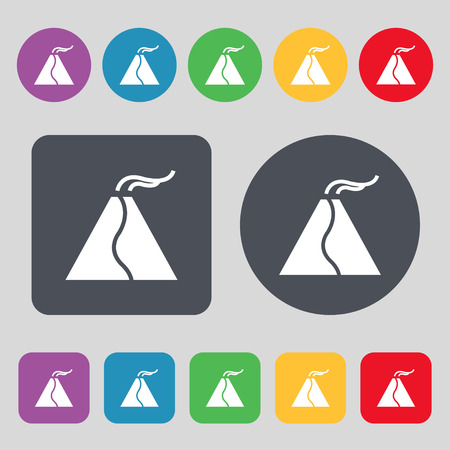 volcano mountain top exploding: active erupting volcano icon sign. A set of 12 colored buttons. Flat design. Vector illustration