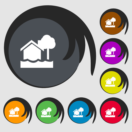 flooding home icon sign. Symbols on eight colored buttons. Vector illustration
