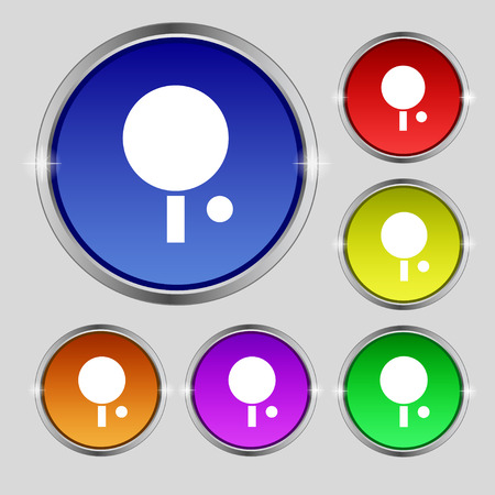 table tennis icon sign. Round symbol on bright colourful buttons. Vector illustration