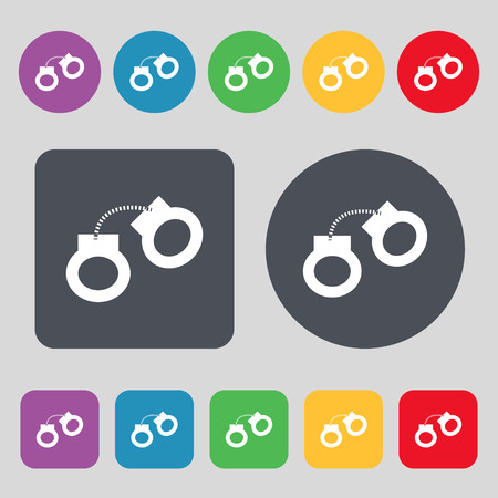 bondage: handcuffs icon sign. A set of 12 colored buttons. Flat design. Vector illustration