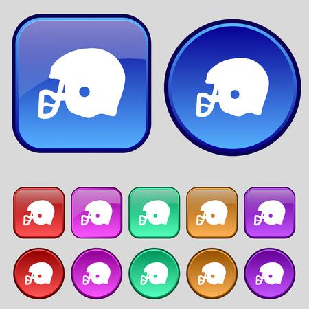american football helmet set: american football helmet icon sign. A set of twelve vintage buttons for your design. Vector illustration Illustration