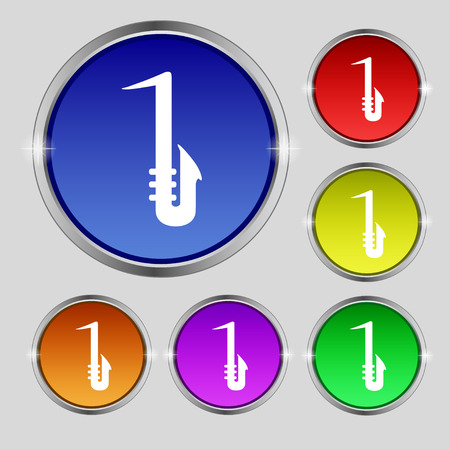Saxophone icon sign. Round symbol on bright colourful buttons. Vector illustration