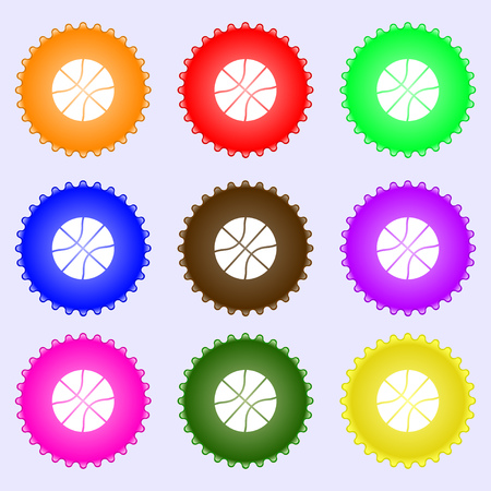 bal: Basketball icon sign. Big set of colorful, diverse, high-quality buttons. Vector illustration